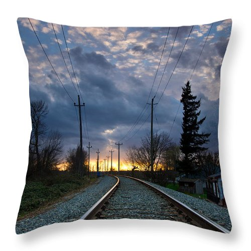 Vertical Throw Pillow featuring the photograph Fire On The Horizon by Eti Reid