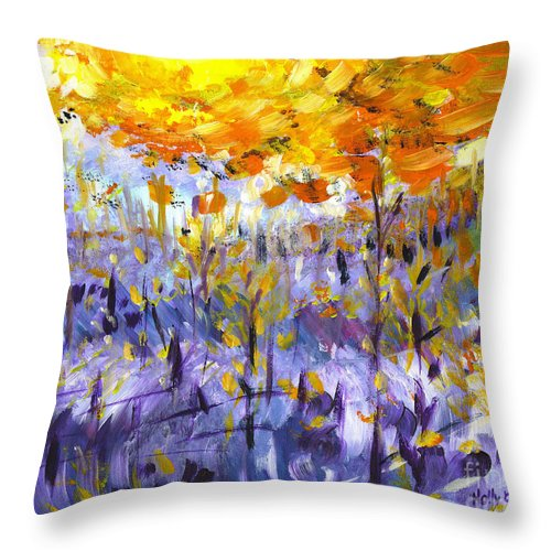 Forest Throw Pillow featuring the painting Fire On The Mountain by Holly Carmichael