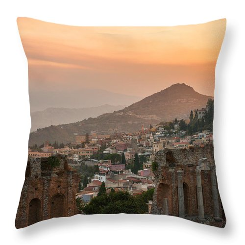 Ancient Throw Pillow featuring the photograph Fire Over Taormina City by Gurgen Bakhshetsyan