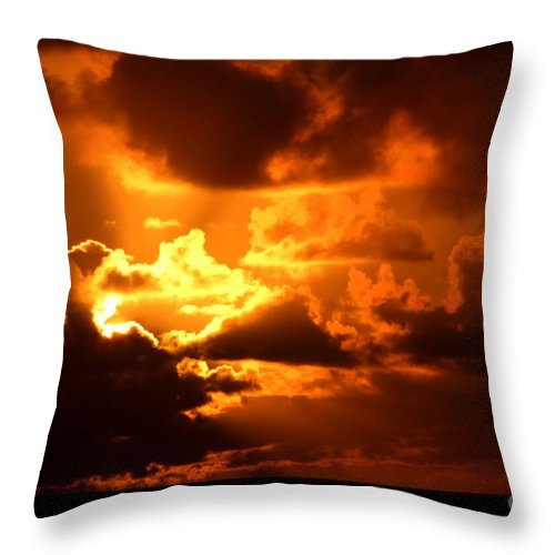 Fire Throw Pillow featuring the photograph Fire Over The Ocean by Mary Deal