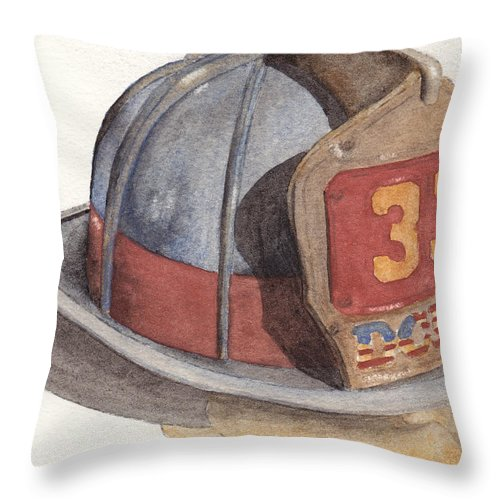Fire Throw Pillow featuring the painting Firefighter Helmet With Melted Visor by Ken Powers