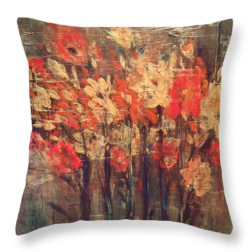 Flowers Throw Pillow featuring the painting Fireflowers by Julie Lourenco