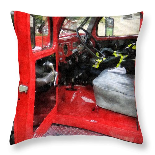 Firefighters Throw Pillow featuring the photograph Fireman - Fire Truck With Fireman's Uniform by Susan Savad