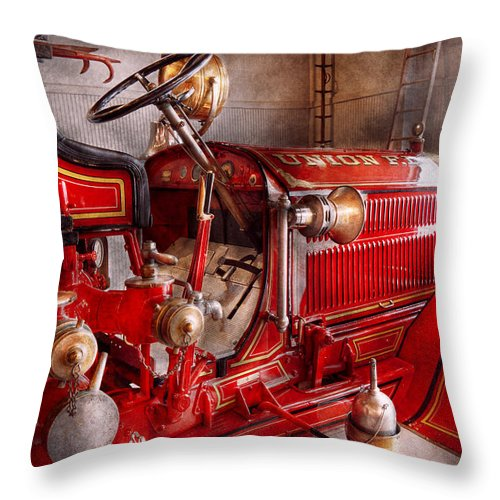 Fireman Throw Pillow featuring the photograph Fireman - Truck - Waiting For A Call by Mike Savad