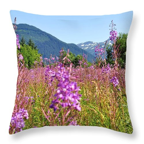 Fireweed Throw Pillow featuring the photograph Fireweed Field by Cathy Mahnke