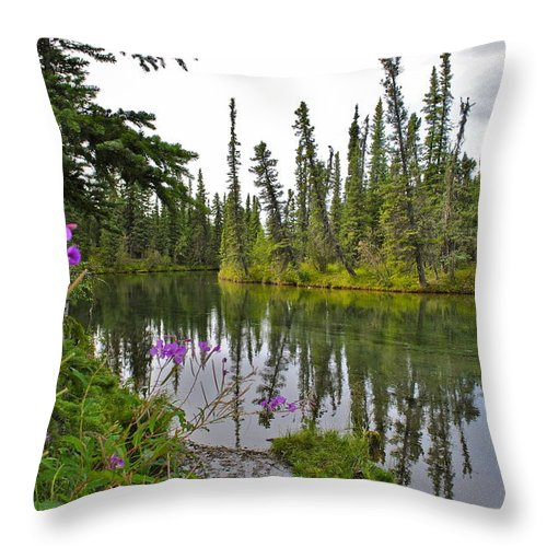 Fireweed Throw Pillow featuring the photograph Fireweed On The Clearwater by Cathy Mahnke