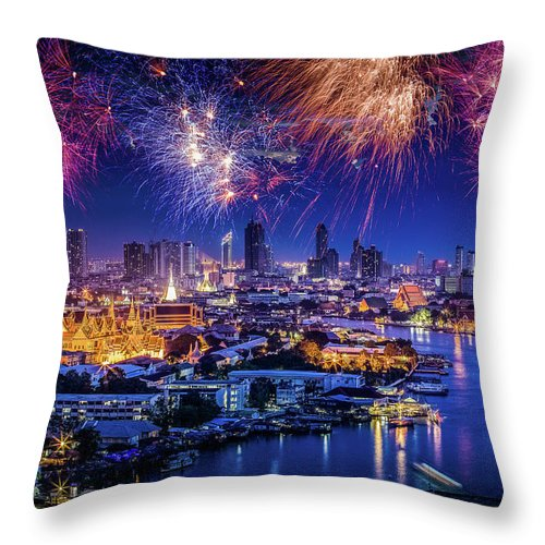 Mother's Day Throw Pillow featuring the photograph Fireworks Above Bangkok City by Natapong Supalertsophon