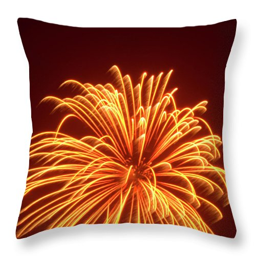 Orange Color Throw Pillow featuring the photograph Fireworks by Dennis Mccoleman