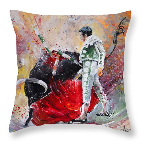 Animals Throw Pillow featuring the painting Fireworks In The Bullring by Miki De Goodaboom