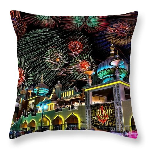 Atlantic Throw Pillow featuring the photograph Fireworks Over Atlantic City by Nick Zelinsky