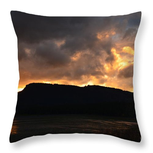 Sunset Throw Pillow featuring the photograph Firey Sky by Deanna Cagle