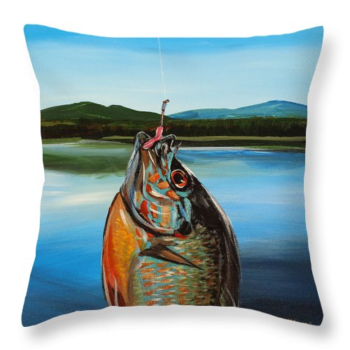 Fishing Throw Pillow featuring the painting First Catch by Meghan OHare