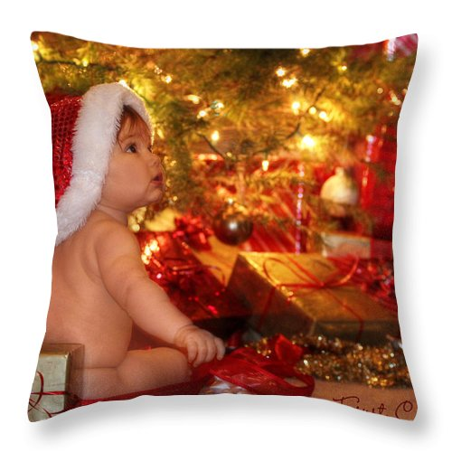 Babys First Christmas Throw Pillow featuring the photograph First Christmas by Lori Deiter