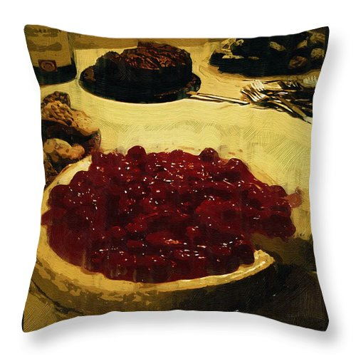 Dessert Throw Pillow featuring the painting First Cut by RC DeWinter