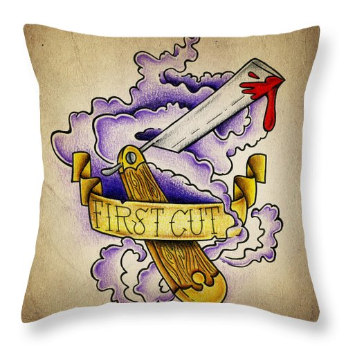 Tattoo Throw Pillow featuring the photograph First Cut by Samuel Whitton