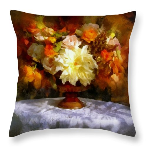 Flowers Throw Pillow featuring the painting First Day Of Autumn - Still Life by Lilia D