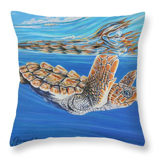 Ocean Throw Pillow featuring the painting First Dive by Jane Girardot