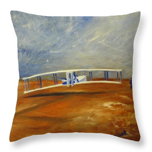 Wright Brothers Throw Pillow featuring the painting First Flight Aka Kittyhawk Dream by Tina Swindell