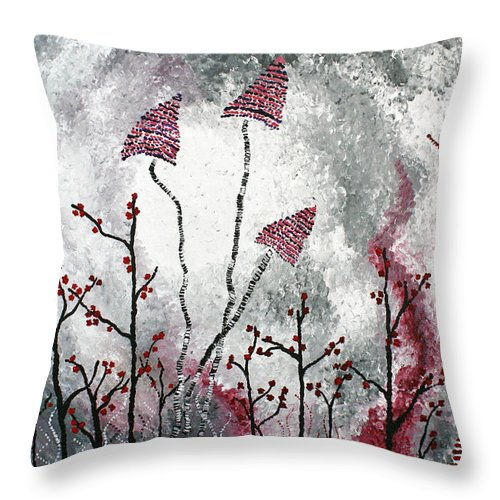 Winter Throw Pillow featuring the painting First Frost by Wendy May