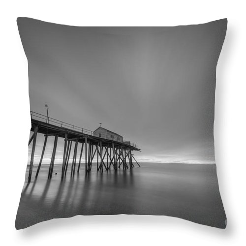 Fishing Pier Sunrise Throw Pillow featuring the photograph First Light Bw by Michael Ver Sprill
