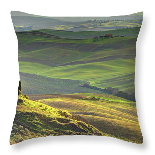 Scenics Throw Pillow featuring the photograph First Light In Tuscany by Maurice Ford