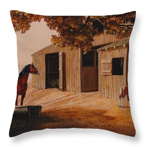 Farm Throw Pillow featuring the painting First Meeting by Duane R Probus