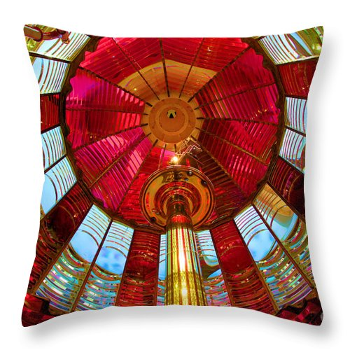 First Order Fresnel Lens Throw Pillow featuring the photograph First Order Fresnel Lens by Adam Jewell