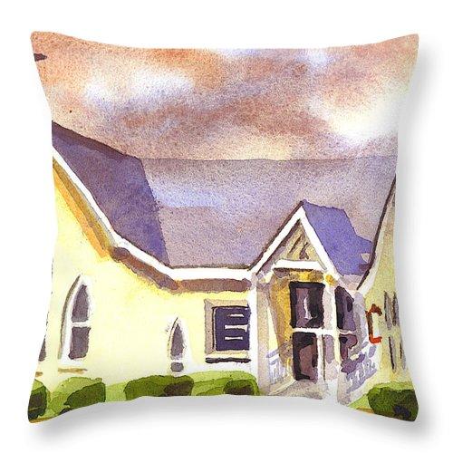 First Presbyterian Church Ironton Missouri Throw Pillow featuring the painting First Presbyterian Church Ironton Missouri by Kip DeVore