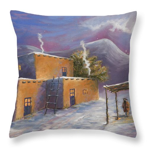 Snow Throw Pillow featuring the painting First Snow by Jerry McElroy