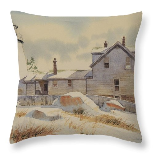 Landscapes Throw Pillow featuring the painting First Snow by Jon Hunter