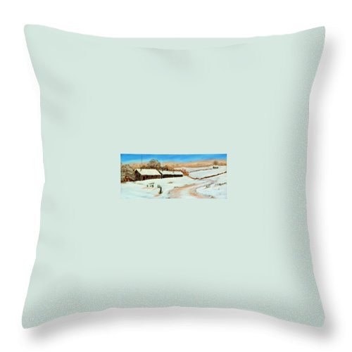 Winter Throw Pillow featuring the painting First Snow by Rich Fotia