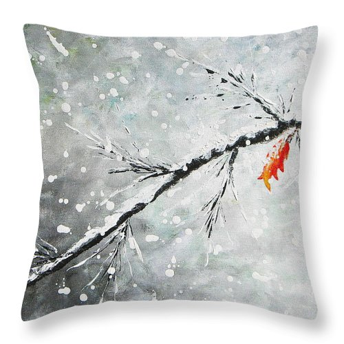 Snow Throw Pillow featuring the painting First Snowfall by Kume Bryant