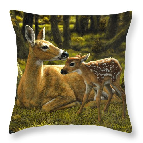 Deer Throw Pillow featuring the painting First Spring - Variation by Crista Forest