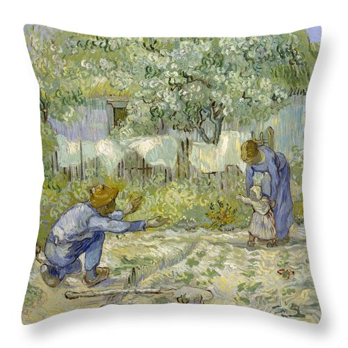 1890 Throw Pillow featuring the painting First Steps - After Millet by Vincent van Gogh