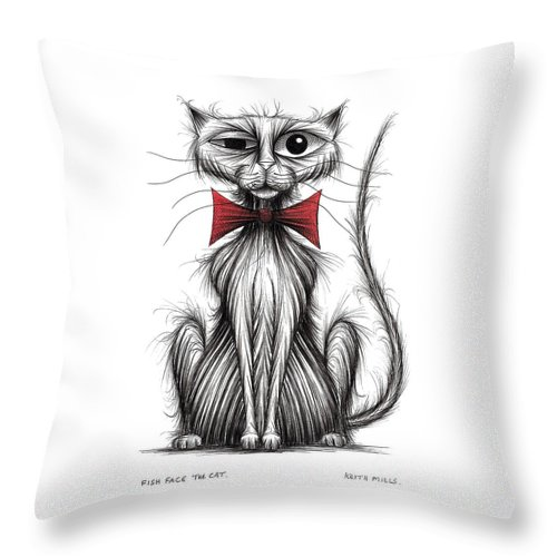 Cat Throw Pillow featuring the drawing Fish Face The Cat by Keith Mills