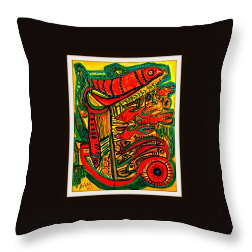 Fish Throw Pillow featuring the painting Fish by Julio Sanchez - Julsan