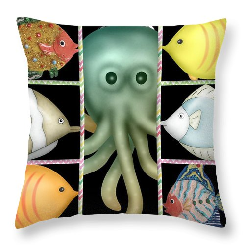Fish Throw Pillow featuring the digital art Fish Stories by Debra Miller