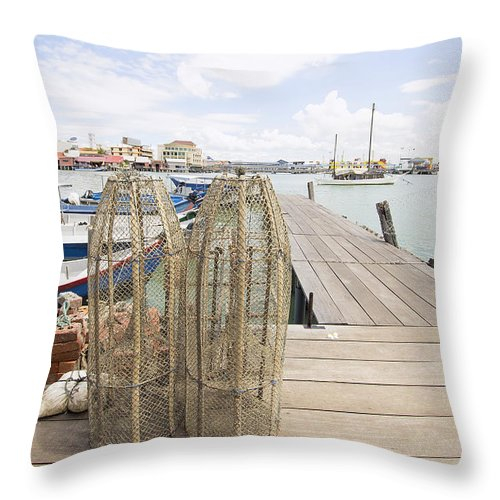 Traditional Throw Pillow featuring the photograph Fish Trap On Jetty In Penang by Jit Lim