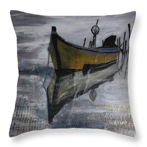 Painting Throw Pillow featuring the painting Fishboat by Susanne Baumann