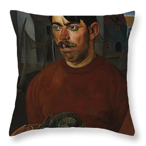Russia Throw Pillow featuring the painting Fisherman by Celestial Images