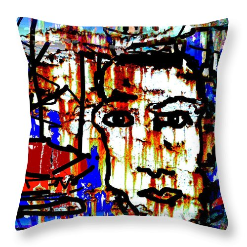 Fisherman Throw Pillow featuring the painting Fisherman by Natalie Holland