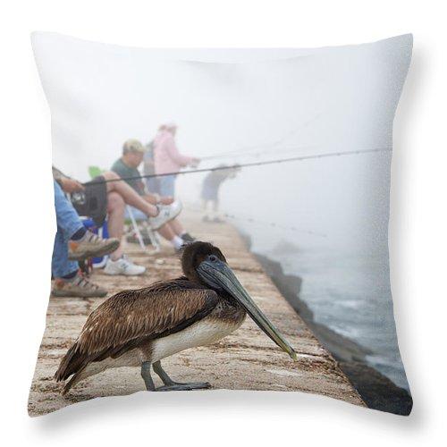 Bird Throw Pillow featuring the photograph Port Aransas Texas by Mary Lee Dereske