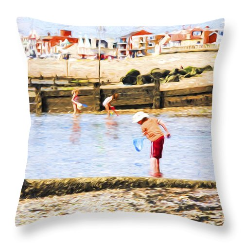 Children Fishing Throw Pillow featuring the photograph Fishing at Southend by Sheila Smart Fine Art Photography