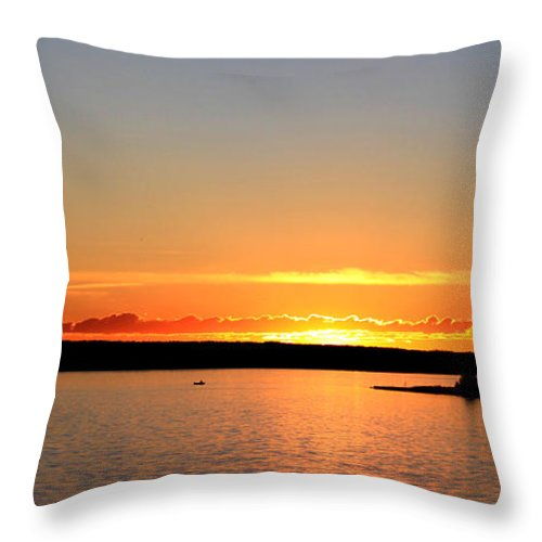 Sunset Throw Pillow featuring the photograph Fishing Boat At Sunset by Laurie Pelletier