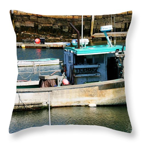 Fishing Boat In Rockport Throw Pillow featuring the photograph Fishing Boat In Rockport by Denyse Duhaime
