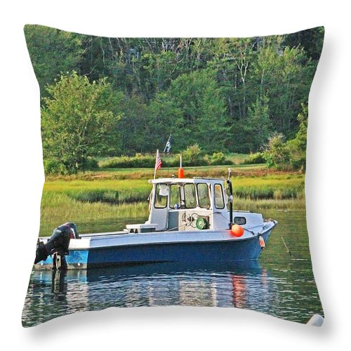 Reflections Throw Pillow featuring the photograph Fishing Boat Cape Neddick Maine by Michael Saunders