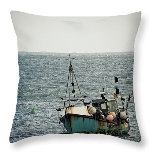 English Channel Throw Pillow featuring the photograph Fishing Boat by Vfka