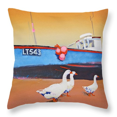 Geese Throw Pillow featuring the painting Fishing Boat Walberswick With Geese by Charles Stuart