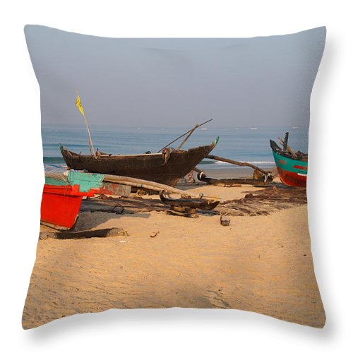 Boats Throw Pillow featuring the digital art Fishing Boats by Carol Ailles