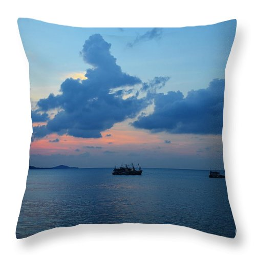 Michelle Meenawong Throw Pillow featuring the photograph Fishing Boats by Michelle Meenawong